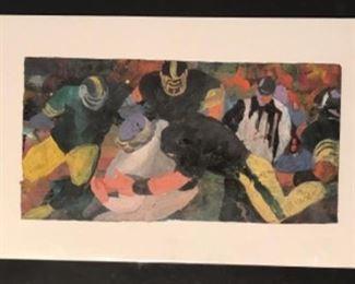 """""""Crunch"""" Original Art Casein on Rice Paper  Signed By Artist Jane Paden (7 1/8""""x 14 1/8"""")"""