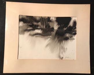 """Lead Mine Road"" Original Art Ink On Paper by Jane Paden 17 x 14"
