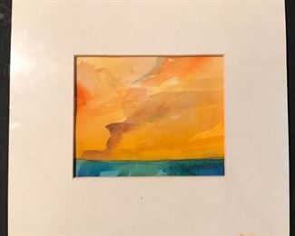 """""""Hot Summer Day"""" Original Watercolor by Jane Paden.  Matted and infrared.  Image: 5.5"""" x 4.5"""". Matted: 10"""" X 9.5"""""""