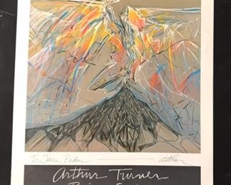 """Arthur Turner Prism Series Poster (1976) Houston, TX Moody Gallery Exhibit Post inscribe to Jane Paden and Signed (16"""" x 20"""")"""