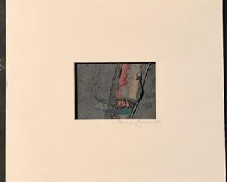 "Arnold Farrowth Original Mixed Media Art.  Image: 4.5"" x 3.5"".  Signed Mat Overall 12"" x 10.5"""