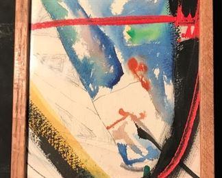 """Polar Bridges"" Original Art by Arthur Turner.   1989  Mixed Media Water Color( 8 x 10)."