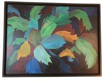 "Original art by Jane Paden"" Christmas cactus"" oil on canvas 40"" x 30"""