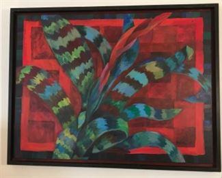 """ Bromeliad"" Original Oil On Canvas Signed By Artist Jane Paden. 40 x 30"