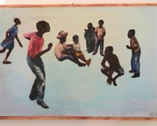 "Original Art by Jane Paden. Oil on canvas ""summertime"" 31"" x 21"""