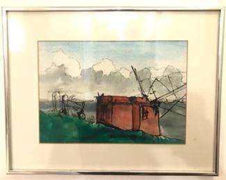 """""""Waterfront in Oriental"""" Watercolor by Jane Paden 9 x 12 1/2"""