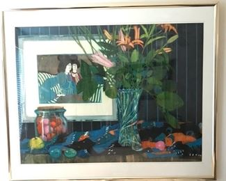 """Original Watercolor Art Matted and Framed by Artist Polly Hammett of Houston Tx.  Framed and Matted (45""""x 37"""")"""