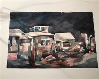 Coastal Village Mexico  - at night. Original Art by Jane Paden  (22 x 15)