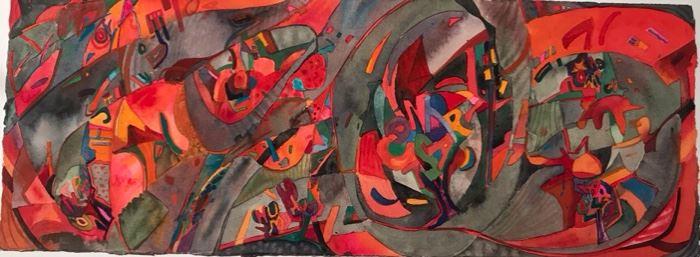 "Original Watercolor Art by Jane Paden (8"" x 22.5"")"