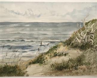 "Original North Carolina Coastal Watercolor Art Signed By Artist Jane Paden (20"" x 16"") (unframed)"