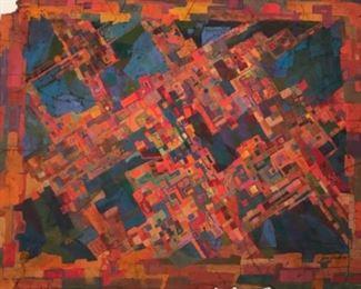 "Jane Paden Signed Original Casein Art Work on Rice Paper  (24"" x 19"")"