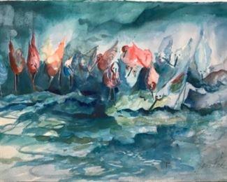 """Birds at the Water Fountain"" Original Watercolor Art by Jane Paden (unframed) 22"" x 15"""""