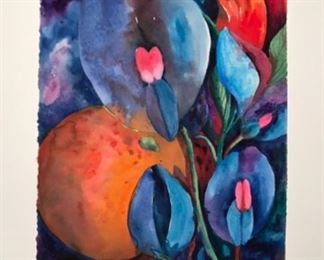 "Artist Jane Paden Original Watercolor  ""Snap Dragons"" (11"" x 14"")"