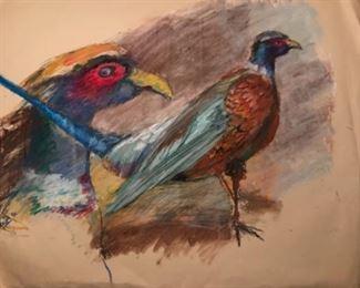 "Jane Paden Study of Pheasants Original Art (26' X 20"")"