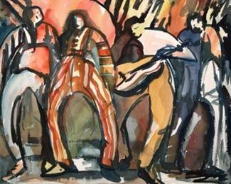 """Jane Paden Original Watercolor Art """"The Band"""".        (25"""" x 22"""")"""