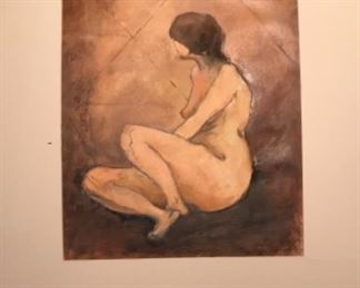 """Original Art Signed By Artist Jane Paden. """"Watch"""" oil and pencil on paper 19"""" x 27"""" with mat 25 1/2"""" x 34"""""""