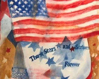 """""""Stars and Stripes Forever"""". Original Watercolor by Jane Paden (22"""" x 30"""")"""