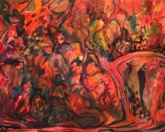 """Jane Paden """"Hades"""" Original Watercolor  930"""" x 22"""")"""