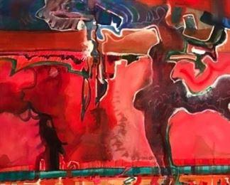 """RED"" Original Watercolor Art by Jane Paden   (22""x 30"")"