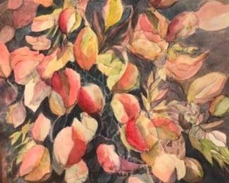 "Original Early Watercolor Art by Jane Paden  22"" x 30"""