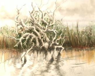 "Jane Paden Original  Watercolor Art.  (20"" x 14"") Unsigned"
