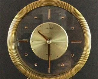 Seiko quartz Brass and Glass Shelf clock