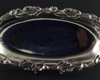 Art Nouveao quadruple plated silver oval copper bread tray.