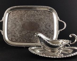 WSB electroplate on copper Footed gravy boat with under plate from England.