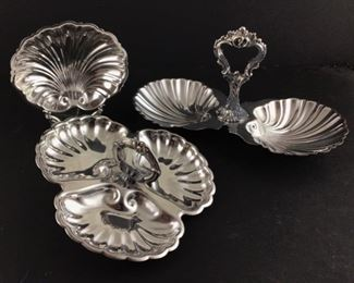Back left: Friedman Silver Company Silver Plate Shell dish.Back right: Continental Sheffield silver company silver plate double shell tray. Front silver plate three part tidbit tray