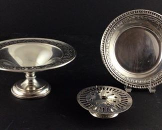 Silver on Copper Compote. Reed and Barton silverplate bonbon Dash Belair. Pierced silver plate 3 1/2 inch Stand.