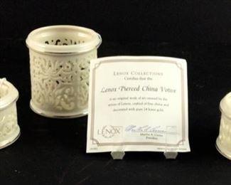 "Lenox pierced 3""votive and two small Lenox 1 3/4"" pierced votives"