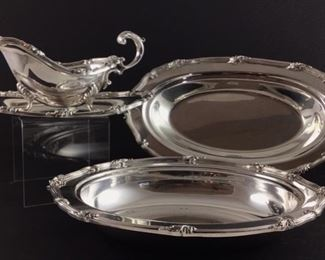 WSB electroplate on copper Footed gravy boat with underplate from England. W&S Blackinton company American silversmiths 1805 to 1938 silver plate bread tray & Silver plate oval veggie bowl