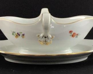 """Gravy bowl with attached under plate. """"Scattered flowers"""" by Meissen (Germany) circa 1820"""