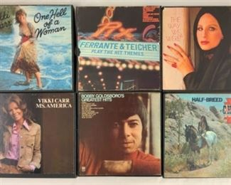 Multiple reel to reel tapes. Shown here: Vikki Carr, one hell of a woman; Ferrante and Teicher, play the hit themes; Barbra Streisand, the way we were; Vikki Carr, Miss America; Bobby Goldsboro's greatest hits; Cher, halfbreed