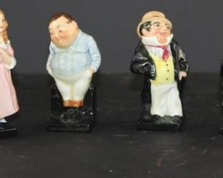 """Royal dalton Dickens """"Pickwick papers"""" figurines from England: Joe """"fat boy"""", little Nell, captain cutre, Barrister"""