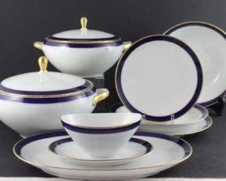 """""""echo Cobalt""""  by Barelither- Waldsassen, Germany – three piece placesetting service for six includes dinner plate salad plate soup bowl, platter and round veggie bowl, Gravy boat with attached under plate, covered soup tureen,  covered vegetable serving bowl. Two, Royal Crown Derby cobalt band 12 inch chargers"""