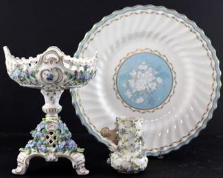Two royal doulton dinner plates, Sitzendorfer Porcelain  compote  East Germany circa 1918 - 1949, Antique German cherub blue floral vase