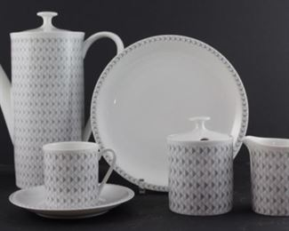 """ArzBurg """"Grand Prix"""" Coffee Set -  service for six -coffee pot,  sugar and creamer, six cup and saucers, six dessert plates, six salad plates. 21 pieces total"""