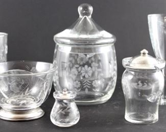 Etched daisy pattern crystal biscuit jar with lid. Depression era etched wine stems set of eight with grapes. Antique etched crystal mustard jar. Vintage edge crystal jam jar with sterling lid. Edged cut crystal divided bowl on silver base. Set of six etched cut crystal daisy tumblers