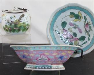 Antique Chinese Tongzhi Mark Porcelain Teapot, pictured back right hand painted oriental bowl, pictured in front oriental style Handpainted porcelain  Octagon bowl