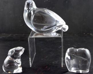 Val Saint Lambert crystal dove, baccarat crystal rabbit from France, baccarat Crystal elephant