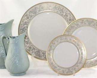 """Three vintage drabware pitchers - 6 3/4 H x 4""""W, 9""""x5 1/2 W,  8 1/2""""H x 5""""W"""