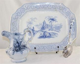 "Antique Samuel Alcock ""Florentine"" blue and white transferware platter circa 1858, WH Grindley England transferware pitcher, AE Lewis Sheffield England Casserole spoon"