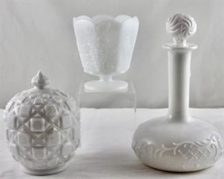 """Westmoreland Vintage milk glass candy dish """"old quiet"""", antique milk glass barbers bottle circa 1890, pictured in back E.O. Brody milk glass grape harvest Footed vase"""