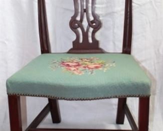 Chippendale (catalogue #129) Mahogany Side Chair with Needlepoint Roses Cushion Seat (1 of 10 Side chairs shown). Side chairs all have Needlepoint seat cushion in various designs and colors.