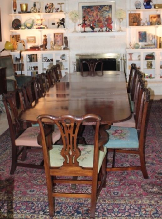 Regency Mahogany 3 Pedestal 12' Dinning Table with 12 Chippendale Chairs (10 Side Chairs & 2 Arm Chairs). Originally belonging to Herman & Margaret Brown