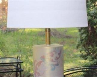 "Mid-Century Cylindrical Ceramic Lamp.  Base 14""H x 6""W) w/Shade 28"""