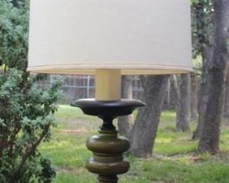 Vintage 70's Avocado Green Lamp with Wrought Iron Scroll Feet.