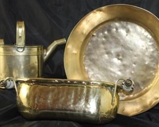 Pictured back left: Victorian brass watering can circa 1880. Right: antique 14 inch round brass pan 4 inch deep. Pictured front: Holland brass window box styles herb planter with blue Delft handles