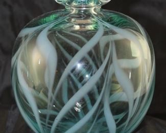 """David R. Bouton """"rainbow"""" blown art glass vase 6 1/2 inches high by 5 1/2 inches wide"""